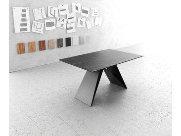 Table à manger Edge 140x90cm Laminam® céramique marron V pieds milieu noir