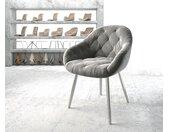 Fauteuil Gaio Flex gris velours 4 pieds conique acier inoxydable