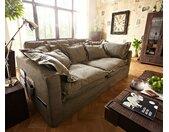 Canapé Noelia 240x145 cm canapé à housses marron avec coussins