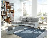 Canapé d'angle Panama gris clair blanc chaise longue variable canapé modulaire