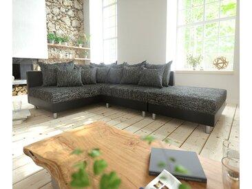Canapé d'angle Clovis noir canapé module tabouret ottoman gauche