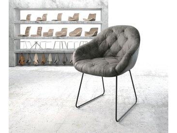 Fauteuil Gaio Flex gris vintage cadre patin noir
