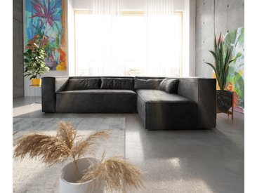 Canapé d'angle Brom 267x173 cm anthracite pouf variable