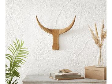 Déco Tête de taureau 49x42 cm bois teck nature corne unique