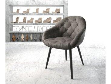 Fauteuil Gaio Flex anthracite vintage 4 pieds conique noir