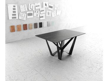 Table à manger Edge 140x90cm Laminam® céramique marron pieds milieu acier plat noir