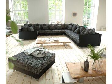 Canapé panoramique Clovis XXL modulable noir avec tabouret et accoudoirs poufs droite