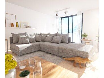Canapé d'angle Clovis tabouret en tissu structuré gris clair ottoman gauche canapé modulaire