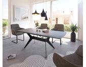 Table à manger Edona 160/200x90 cm look céramique gris métal extensible