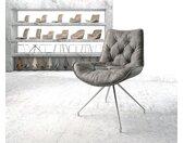 Chaise pivotante Taimi Flex gris vintage cadre croisé conique acier inoxydable