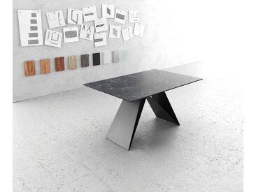 Table à manger Edge 140x90cm Laminam® céramique gris V pieds milieu noir