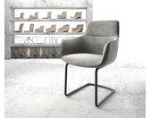 Chaise de salle à manger Pejo Flex gris velours cantilever rond noir