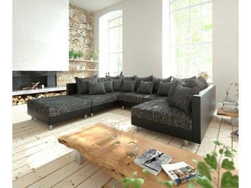 Canapé panoramique Clovis Noir modulable avec tabouret