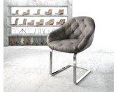Fauteuil Gaio Flex gris vintage cantilever plat chromé
