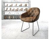 Fauteuil Gaio Flex marron vintage cadre patin noir