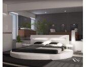 Lit Arrondi 180x200 blanc rond 2 consoles de nuit LED