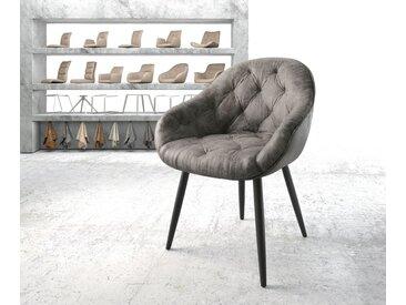 Fauteuil Gaio Flex gris vintage 4 pieds conique noir