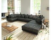 Canapé Panoramique Clovis XL Canapé modulable noir avec tabouret