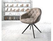 Chaise pivotante Gaio Flex taupe vintage cadre croisé carré noir