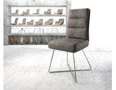 Chaise de salle à manger Pela Flex anthracite vintage X cadre acier inoxydable