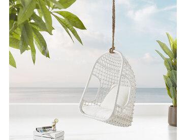 Chaise suspendue Edessa avec coussins en rotin blanc