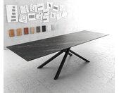 Table à manger Edge 300x100cm Laminam® céramique marron pieds milieu croisé noir