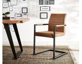 Chaise cantilever Earnest marron avec cadre vintage en métal noir