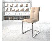 Chaise de salle à manger Maddy Flex beige vintage cantilever rond chromé