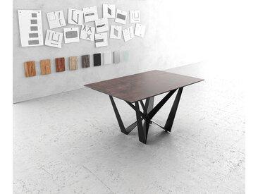 Table à manger Edge 140x90cm verre Antique marron pieds milieu acier plat noir