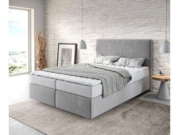 Lit à sommier tapissier Dream Well 140x200 cm gris avec matelas et surmatelas