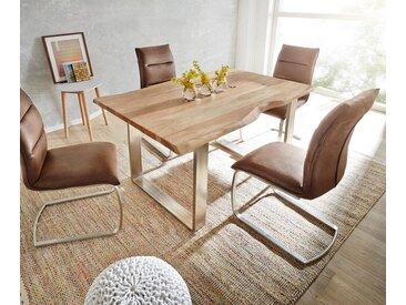 Table à manger Edge 140x90 acacia nature acier inoxydable mince Live Edge