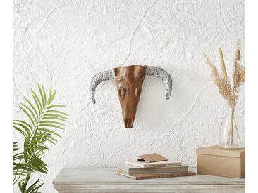 Tête taureau 45x34 cm teck nature corne d'aluminium unique