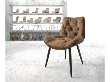 Chaise de salle à manger Taimi Flex marron vintage 4 pieds conique noir