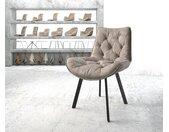 Chaise de salle à manger Taimi Flex taupe vintage 4 pieds ovale noir
