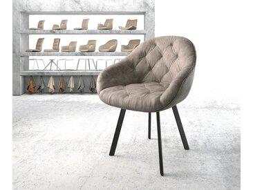 Fauteuil Gaio Flex taupe vintage 4 pieds ovale noir