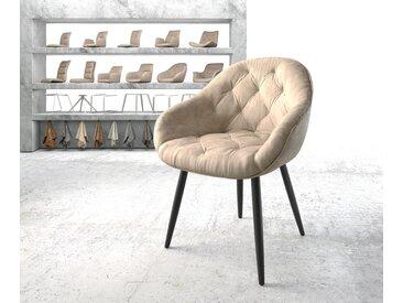 Fauteuil Gaio Flex beige vintage 4 pieds conique noir