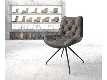 Chaise pivotante Taimi Flex anthracite vintage cadre croisé conique noir