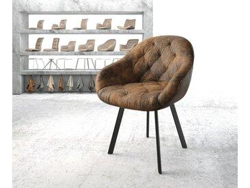 Fauteuil Gaio Flex marron vintage 4 pieds ovale noir
