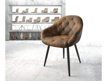 Fauteuil Gaio Flex marron vintage 4 pieds conique noir