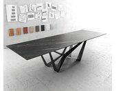 Table à manger Edge 300x100cm Laminam® céramique marron pieds milieu acier plat noir