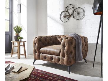 Fauteuil lounge Corleone 3 places marron vintage