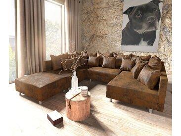 Canapé Panoramique Clovis Marron look Vintage modulable avec Tabouret