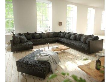 Canapé panoramique Clovis XXL noir modulable tabouret poufs droite