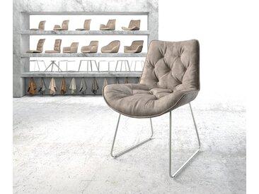 Chaise de salle à manger Taimi Flex taupe vintage cadre patin acier inoxydable