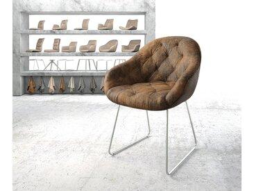 Fauteuil Gaio Flex marron vintage cadre patin acier inoxydable