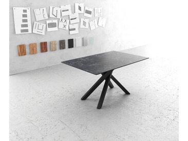 Table à manger Edge 140x90cm Laminam® céramique gris pieds milieu croisé noir