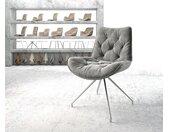 Chaise pivotante Taimi Flex gris velours cadre croisé conique acier inoxydable