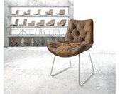 Chaise de salle à manger Taimi Flex marron vintage cadre patin acier inoxydable