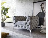 Fauteuil de lounge  Corleone Gris Velours Fauteuil de salon