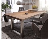Table à manger Edge 200x100 XL sheesham nature acier inoxydable large